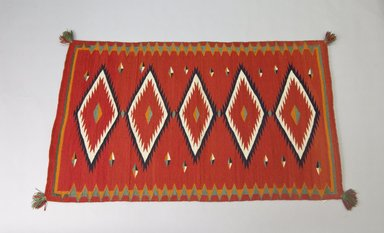 Navajo (Native American). Saddle or Child's Blanket, 1875-1880. Wool, dye, 30 x 51in. (76.2 x 129.5cm). Brooklyn Museum, Henry L. Batterman Fund and the Frank Sherman Benson Fund, 50.67.52. Creative Commons-BY