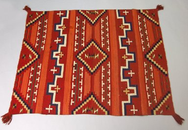 Navajo (Native American). Probably Bayeta-style Blanket with Terrace and Stepped Design, 1870-1880. Wool, dye, 44 x 58in. (111.8 x 147.3cm). Brooklyn Museum, Henry L. Batterman Fund and the Frank Sherman Benson Fund, 50.67.54. Creative Commons-BY