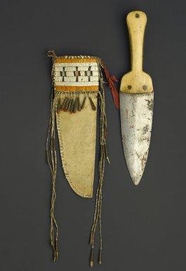 Eastern, Sioux (Native American). Scalping Knife and Sheath, early 19th century. Steel, bone, hide, quills, copper, cloth, steel?, knife in sheath: 13 x 6 in. (33 x 15.2 cm). Brooklyn Museum, Henry L. Batterman Fund and the Frank Sherman Benson Fund, 50.67.59a-b. Creative Commons-BY