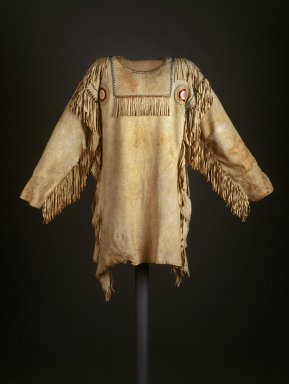 Red River Metis (Native American). Chief's Dress Shirt, early 19th century. Buckskin, glass beads, dyed hair, porcupine quills, thread, 39 x 52 in. (99.1 x 132.1 cm). Brooklyn Museum, Henry L. Batterman Fund and Frank Sherman Benson Fund, 50.67.7a. Creative Commons-BY