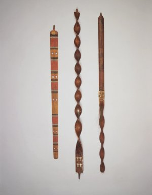 Eastern, Sioux (Native American). Carved and Inlayed Spiral Pipe Stem, early 19th century. Ash wood, lead, 42 1/4 x 2 x 2 in. (107.3 x 5.1 x 5.1 cm). Brooklyn Museum, Henry L. Batterman Fund and the Frank Sherman Benson Fund, 50.67.93. Creative Commons-BY