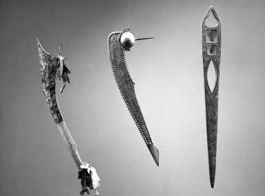 Menominee (Native American). Ball-headed War Club with Spike, early 19th century. Wood, brass nail studs, pigment, 24 1/4 in. (61.6 cm). Brooklyn Museum, Henry L. Batterman Fund and the Frank Sherman Benson Fund, 50.67.61. Creative Commons-BY