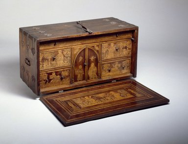 Traveling Desk (Escritorio), 18th century. Spanish cedar and walnut, with hard- and softwood inlays, pigments, iron, and velvet, open: 22 3/4 x 37 1/8 x 31 7/8 in. (57.8 x 94.3 x 81 cm). Brooklyn Museum, Gift of the family of Josephus Daniels, 51.102a. Creative Commons-BY