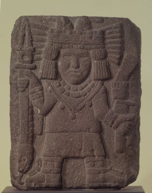 Aztec. Tablet with Relief of Corn Goddess Chicomecoatl (probably), 1440-1521. Stone, 15 1/2 x 11 3/4 x 3 3/8 in. (39.4 x 29.8 x 8.6 cm). Brooklyn Museum, A. Augustus Healy Fund, 51.109. Creative Commons-BY