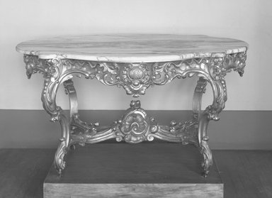 Center Table, ca. 1845. Wood, marble, gesso, gilt and casters, 30 x 56 3/4 x 37 1/2 in.  (76.2 x 144.1 x 95.3 cm). Brooklyn Museum, Gift of Marion Litchfield, 51.112.9a-f. Creative Commons-BY