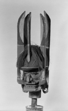 Head, 19th or early 20th century. Wood, fiber, Turbo petholatus opercula, pigment, 22 3/4 x 6 1/2 x 8 3/4 in. (57.8 x 16.5 x 22.2 cm). Brooklyn Museum, Gift of John W. Vandercook, 51.118.1. Creative Commons-BY