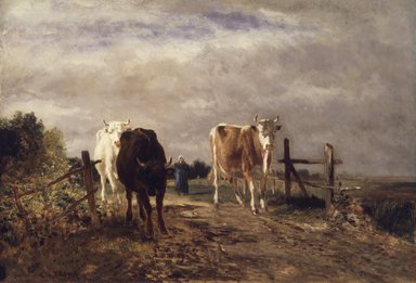 Constant Troyon (French, 1810-1865). Returning Herd, ca. 1852-1863. Oil on cradled panel, 19 3/4 x 28 3/4 in. (50.2 x 73 cm). Brooklyn Museum, Gift of Charlotte R. Stillman, 51.12