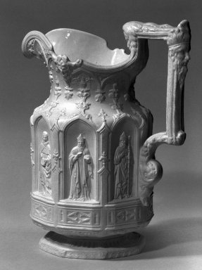 """Charles Meigh (British, 1835-1861). """"Apostle"""" Pitcher, mid 19th century. Stoneware, 10 1/2 x 4 3/4 in. (26.7 x 12.1 cm). Brooklyn Museum, Bequest of Sarah Raymond Miles, 51.130.1. Creative Commons-BY"""