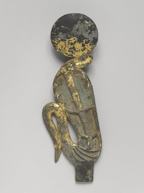Uraeus with Solar Disk, 305-30 B.C.E. Bronze, gold, 4 15/16 x 2 x 1 1/2 in. (12.6 x 5.1 x 3.8 cm). Brooklyn Museum, Charles Edwin Wilbour Fund, 51.147.2. Creative Commons-BY