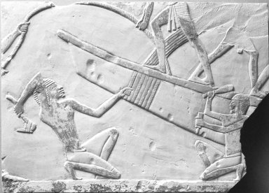 Boat-Building Scene, ca. 664-634 B.C.E. Limestone, painted, 7 5/8 x 10 5/8 in. (19.4 x 27 cm). Brooklyn Museum, Charles Edwin Wilbour Fund, 51.14. Creative Commons-BY