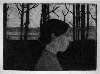 Paula Modersohn-Becker (German, 1876-1907). Portrait of a Peasant Woman (Girl with Nose) (Bildnis einer Bäuerin [Mädchen mit Nase]), 1899-1902, printed 1922-1923 in Worpswede. Etching on wove paper, Image (Plate): 4 x 5 1/2 in. (10.2 x 14 cm). Brooklyn Museum, Frederick Loeser Fund, 51.150.1
