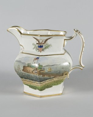 Pitcher, ca.1850. Earthenware, 8 1/2 in. (21.6 cm). Brooklyn Museum, Gift of Arthur W. Clement, 51.156.3. Creative Commons-BY