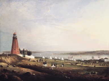 Charles Codman (American, 1800-1842). Entertainment of the Boston Rifle Rangers by the Portland Rifle Club in Portland Harbor, August 12, 1829, 1830. Oil on panel, 24 1/2 x 32 1/2 in. (62.2 x 82.5 cm). Brooklyn Museum, Dick S. Ramsay Fund, 51.196