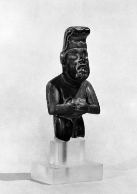 Olmec. Part of a Figurine. Jadeite, cinnabar, 2 x 3/4 x 3 1/2 in. (5.1 x 1.9 x 8.9 cm). Brooklyn Museum, Gift of Mr. and Mrs. Alastair Bradley Martin, 51.197.2. Creative Commons-BY
