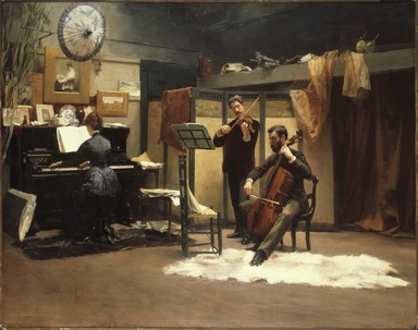 Stacy Tolman (American, 1860-1935). The Musicale, 1887. Oil on canvas, 36 1/4 x 46 in. (92 x 116.9 cm). Brooklyn Museum, Dick S. Ramsay Fund, 51.211
