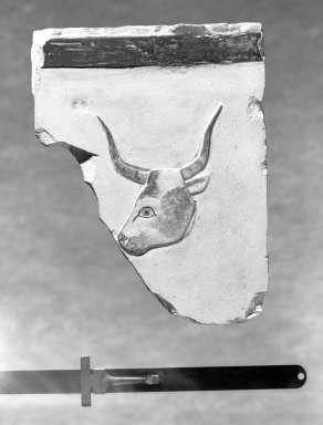 Rectangular Fragment with Head of Bull, 664 - 332 B.C.E. Limestone, painted, 5 3/4 x 4 3/8 in. (14.6 x 11.1 cm). Brooklyn Museum, Charles Edwin Wilbour Fund, 51.225.1. Creative Commons-BY