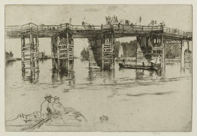 James Abbott McNeill Whistler (American, 1834-1903). Old Putney Bridge, 1879. Black ink on handmade laidpaper with a watermark and a countermark, Image: 8 x 11 3/4 in. (20.3 x 29.8 cm). Brooklyn Museum, Gift of Guy Mayer, 51.238.1