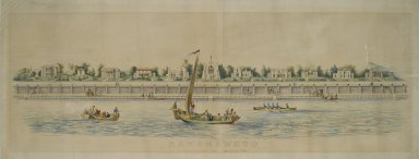 Nathaniel Currier (American, 1813-1888). Ravenswood, Long Island, Near Hallet's Cove, 19th century. Lithograph, hand colored, on wove paper, Image: 11 1/4 x 49 3/4 in. (28.6 x 126.4 cm). Brooklyn Museum, Dick S. Ramsay Fund, 51.239