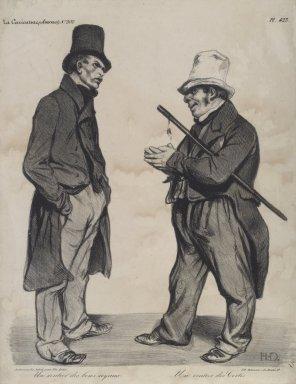 """Honoré Daumier (French, 1808-1879). """"Un rentier des bons royaux--Un rentier des Cortes,"""" September 18, 1834. Lithograph on wove paper, Image: 11 1/2 x 9 3/4 in. (29.2 x 24.8 cm). Brooklyn Museum, Frank L. Babbott Fund, 51.4.1"""
