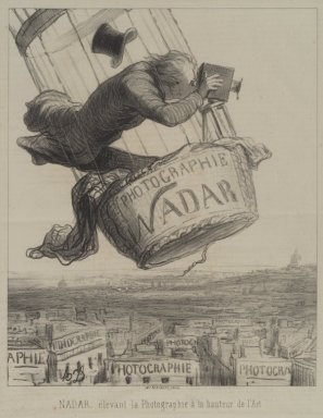 Honoré Daumier (French, 1808-1879). Nadar Élevant la Photographie à la Hauteur de l'Art, May 25, 1862. Lithograph on newsprint, Sheet: 13 1/4 x 9 3/4 in. (33.7 x 24.8 cm). Brooklyn Museum, Frank L. Babbott Fund, 51.4.3