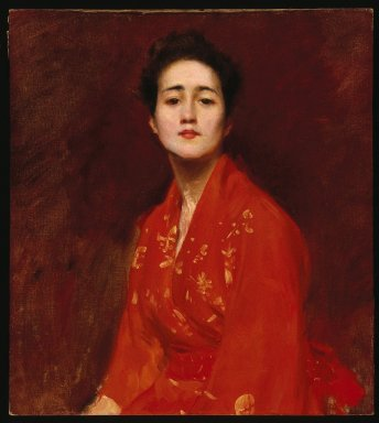 William Merritt Chase (American, 1849-1916). Study of a Girl in Japanese Dress, ca. 1895. Oil on canvas, 28 1/8 x 25 3/16 in. (71.4 x 64 cm). Brooklyn Museum, Gift of Mrs. Leon Griffiths, 51.60