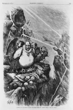 "Thomas Nast (American, 1840-1902). A Group of Vultures Waiting for the Storm to ""Blow Over"" - ""Let Us Prey,"" 1871. Wood engraving on newsprint paper, Image: 13 11/16 x 11 1/4 in. (34.8 x 28.5 cm). Brooklyn Museum, Gift of the Brooklyn Museum Art School, 51.84"