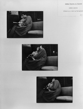 Arthur Leipzig (American, 1918-2014). Subway Vignette in Sequence. Photograph, Each: 4 1/2 x 6 in. (11.4 x 15.2 cm). Brooklyn Museum, Gift of the artist, 52.104a-c. © Arthur Leipzig