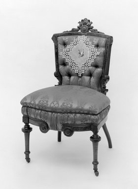 Thomas Brooks. Sidechair, 1872. Walnut, modern upholstery, 38 1/4 x 23 x 17 1/2 in. (97.2 x 58.4 x 44.5 cm). Brooklyn Museum, Gift of Arthur W. Clement, 52.118. Creative Commons-BY