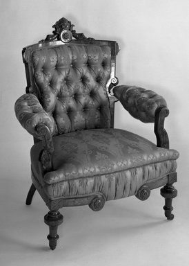 Thomas Brooks. Armchair, 1872. Walnut, modern upholstery, 38 1/4 x 32 1/2 x 31 in. (97.2 x 82.6 x 78.7 cm). Brooklyn Museum, Gift of Dr. Dorothea E. Curnow, 52.120. Creative Commons-BY