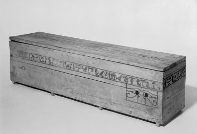 Coffin and Cover of Princess Mayet, ca. 2008-1957 B.C.E. Wood, paint, 16 15/16 x 15 1/2 x 71 3/4 in. (43 x 39.4 x 182.2 cm). Brooklyn Museum, Charles Edwin Wilbour Fund, 52.127a-b. Creative Commons-BY