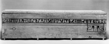 Coffin and Cover of Princess Mayet, ca. 2008-1957 B.C.E. Wood, painted, 16 15/16 x 15 1/2 x 71 3/4 in. (43 x 39.4 x 182.2 cm). Brooklyn Museum, Charles Edwin Wilbour Fund, 52.127a-b. Creative Commons-BY