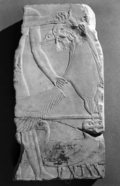 Fragment of Temple Relief with Ducks, ca. 1938-1909 B.C.E. or earlier. Limestone, traces of paint, 18 1/16 x 9 3/16 in., 24.4 lb. (45.8 x 23.3 cm, 11.07kg). Brooklyn Museum, Charles Edwin Wilbour Fund, 52.130.2. Creative Commons-BY