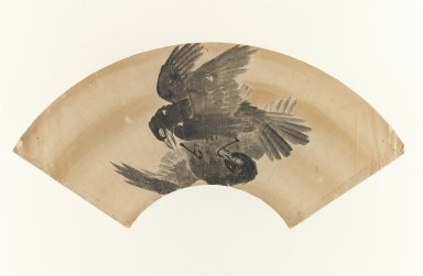[Untitled] (Fan-shaped Drawing of Two Birds), 1603-1868. Fan painting, ink on paper, 7 7/8 x 9 in. (20 x 22.8 cm). Brooklyn Museum, Anonymous gift, 52.14.1. Creative Commons-BY