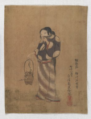 Brooklyn Museum: [Untitled] (Woman Holding Vessel Containing Plant)