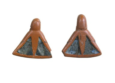 Pair of Earrings in Form of Pendant Lotus Flowers, ca. 1539-1190 B.C.E. Glass, 1 5/16 x 1 5/16 in. (3.3 x 3.3 cm). Brooklyn Museum, Anonymous gift, 52.149a-b. Creative Commons-BY