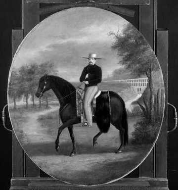 Attributed to follower of Édouard Pingret (French, 1788-1875). Don Manuel Romero de Terreros y Villar-Villamil, ca. 1865. Oil on paper, mounted on canvas, oval: 26 1/4 x 22 7/8 in. (66.7 x 58.1 cm). Brooklyn Museum, Museum Collection Fund and Dick S. Ramsay Fund, 52.166.15