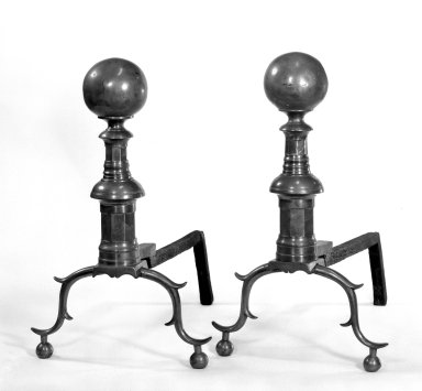 Pairs of Andirons, 18th century. Brass Brooklyn Museum, Gift of Mr. and Mrs. Edgar W. Garbisch, 52.168.2a-b. Creative Commons-BY