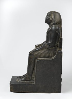 King Senwosret III, ca. 1836-1818 B.C.E. Granite, 21 7/16 x 7 1/2 x 13 11/16 in. (54.5 x 19 x 34.7 cm). Brooklyn Museum, Charles Edwin Wilbour Fund, 52.1. Creative Commons-BY