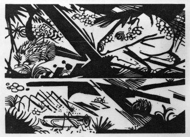 Franz Marc (German, 1880-1916). Horse and Hedgehog (Pferd und Igel), 1913. Woodcut on very thin Japan paper, Image: 6 1/4 x 8 3/4 in. (15.9 x 22.2 cm). Brooklyn Museum, Ella C. Woodward Memorial Fund, 52.2.1