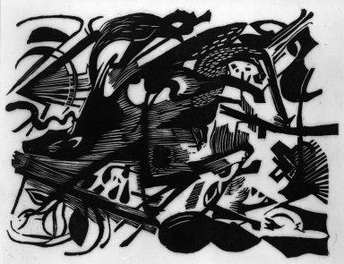 Franz Marc (German, 1880-1916). Birth of the Wolf (Geburt der Wölfe), 1913. Woodcut on very thin Japan paper, Image: 10 x 7 1/2 in. (25.4 x 19.1 cm). Brooklyn Museum, Ella C. Woodward Memorial Fund, 52.2.3