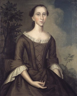 Joseph Badger (American, 1708-1765). Mrs. John Haskins (née Hannah Upham), 1759. Oil on canvas, 35 13/16 x 28 3/8 in. (91 x 72 cm). Brooklyn Museum, Museum Collection Fund, 52.43