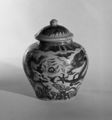 Jar and Cover, 1573-1619. Porcelain, 4 3/4 x 4 15/16 in. (12 x 12.6 cm). Brooklyn Museum, The William E. Hutchins Collection, Bequest of Augustus S. Hutchins, 52.49.15a-b. Creative Commons-BY