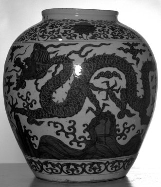 Large Jar, 1522-1566. Porcelain, underglaze cobalt blue decoration, 21 1/4 x 19 5/16 in. (54 x 49 cm). Brooklyn Museum, The William E. Hutchins Collection, Bequest of Augustus S. Hutchins, 52.49.2. Creative Commons-BY