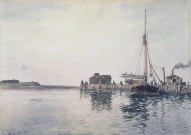 Alfred Thompson Bricher (American, 1837-1908). Harbor, late 1880's. Watercolor Brooklyn Museum, Gift of Allison Clement Withers in memory of Grace Graef Clement, 52.58