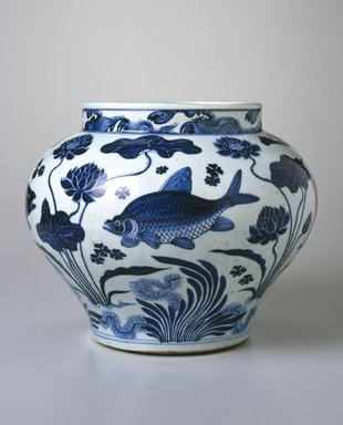 Wine Jar with Fish and Aquatic Plants, 14th century. Porcelain with underglaze cobalt blue decoration, 11 15/16 x 13 3/4in. (30.3 x 34.9cm). Brooklyn Museum, The William E. Hutchins Collection, Bequest of Augustus S. Hutchins, 52.87.1. Creative Commons-BY