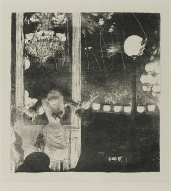 Edgar Degas (French, 1834-1917). Mlle. Bécat at the Café des Ambassadeurs (Mlle. Bécat au Café des Ambassadeurs), 1877-1878. Lithograph on wove Japan paper, Image: 8 1/4 x 7 3/8 in. (21 x 18.7 cm). Brooklyn Museum, Ella C. Woodward Memorial Fund, 52.90.2