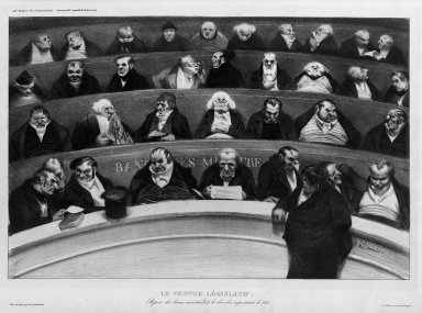 Honoré Daumier (French, 1808-1879). The Legislative Belly (Le Ventre législatif), January 1834. Lithograph on heavy wove paper, Sheet: 12 x 17 13/16 in. (30.5 x 45.2 cm). Brooklyn Museum, Ella C. Woodward Memorial Fund, 52.90.3
