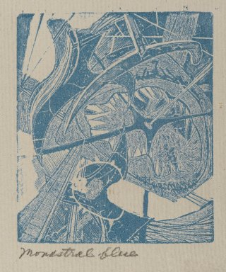 Frederick Gerhard Becker (American, 1913-2004). Hooks and Eyes, 1947. Etching and engraving in monastral blue Brooklyn Museum, Dick S. Ramsay Fund, 52.90.9. © Estate of Frederick Gerhard Becker