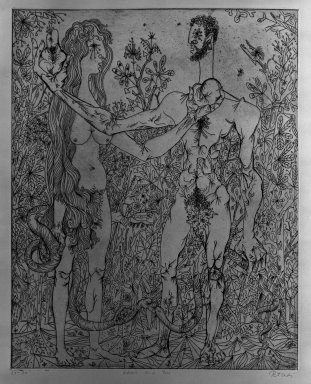 Gabor Peterdi (American, born Hungary, 1915-2001). Adam and Eve, 1947. Etching on paper, 19 11/16 x 15 3/4 in. (50 x 40 cm). Brooklyn Museum, Gift of Martin Segal, 53.114.2. © Estate of Gabor Peterdi