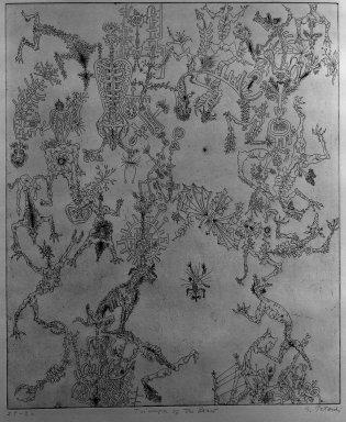 Gabor Peterdi (American, born Hungary, 1915-2001). Triumph of the Beast, 1947. Etching on paper, 17 11/16 x 14 3/4 in. (45 x 37.5 cm). Brooklyn Museum, Gift of Martin Segal, 53.114.3. © Estate of Gabor Peterdi